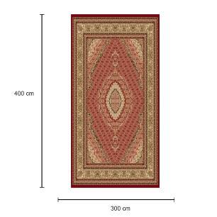Tapete Persa Tabriz Vermelho com Detalhes Bege - 300x400cm