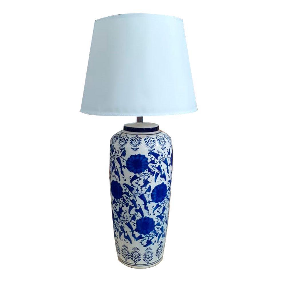 Abajur em Cerâmica com Pinturas em Azul - 79x40cm