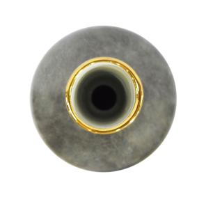 Vaso Decorativo em Porcelana Cinza com Detalhes Dourado - 34x13x13cm
