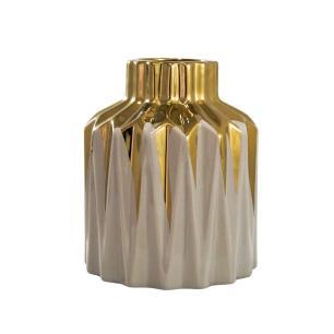 Vaso Decorativo Marrom com Detalhes Dourado - 24x20x20cm