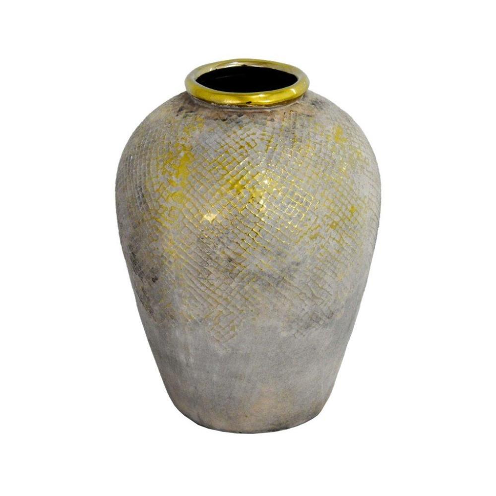 Vaso Decorativo em Cerâmica com Detalhes em Dourado - 30x22x22cm