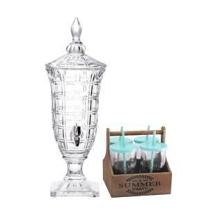 Suqueira Liverpool Produzida em Cristal Ecológico - 2L + Jogo de Canecas em Vidro com Suporte - 5 Peças