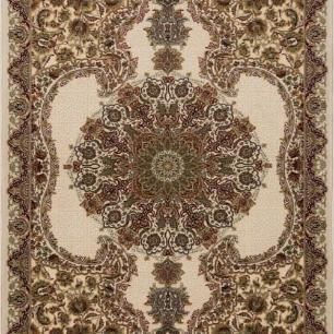 Tapete Persa Kerman Bege com Detalhes em Vermelho - 160x235cm