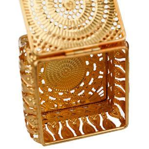 Porta Joias Kalifah Retangular em Ferro cor Dourado - L12xP9xA8cm