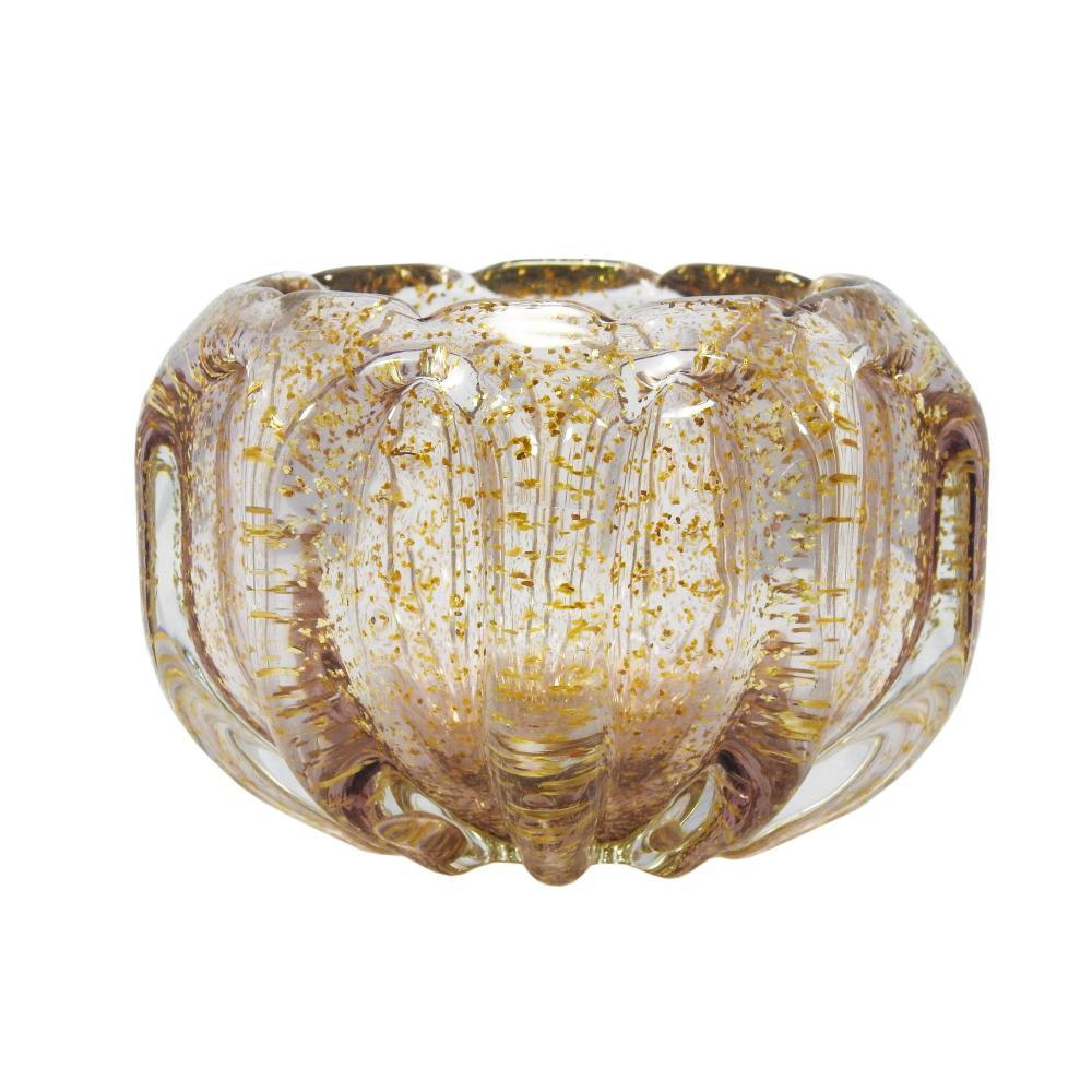 Vaso em Murano Incolor com Detalhes Dourado - 13x11x13cm
