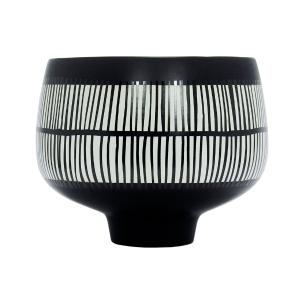 Vaso Decorativo Preto com Detalhes em Branco - 20x23cm