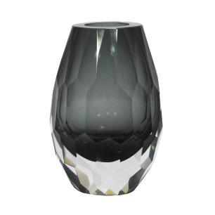 Vaso Decorativo Cinza em Vidro Facetado - 15x9x9cm