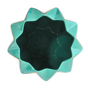 Vaso Decorativo Grande em Porcelana Verde e Dourado