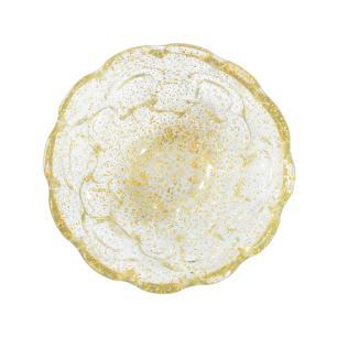 Centro de mesa em Murano Incolor com Detalhes Dourado - 18x8x18cm