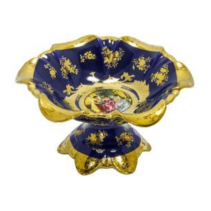 Centro de Mesa em Porcelana Azul com Detalhes em Dourado - 14x25x25cm