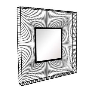 Espelho Quadrado com Moldura em Metal Preto - 91x91cm