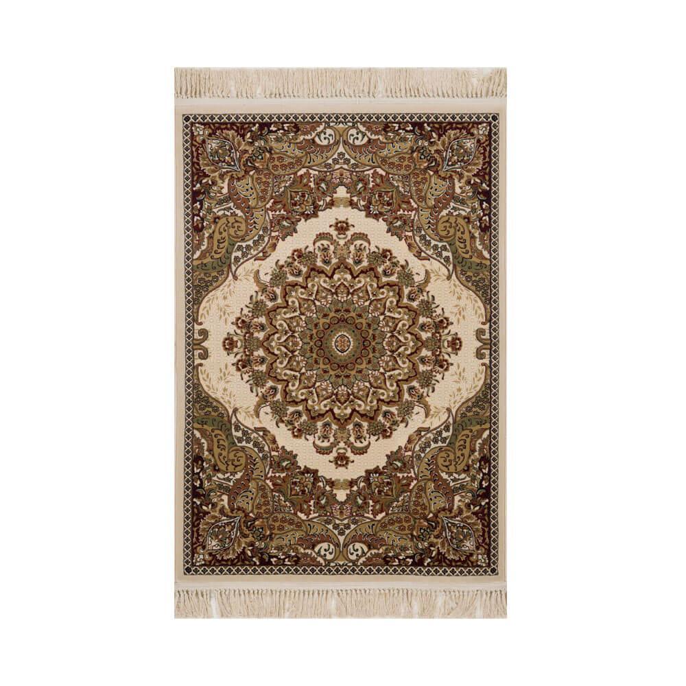 Tapete Persa Qom Bege com Detalhes Florais - 160x235cm
