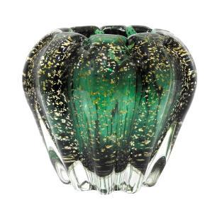Vaso em Murano Verde com Detalhes em Dourado - 16x13x16cm