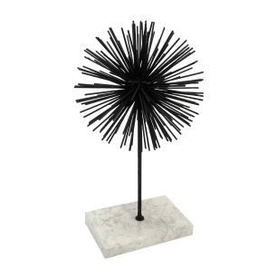 Escultura em Metal Ouriço Preto B. Mármore - 42x22cm