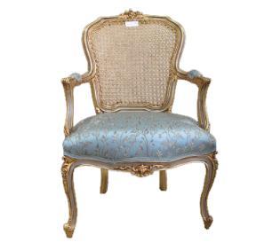 Poltrona Clássica Luis XV Estofado Azul Florido Folheada à Ouro