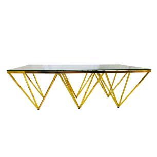 Mesa de Centro em Metal Dourado com Tampo de Vidro - 40x120x80cm