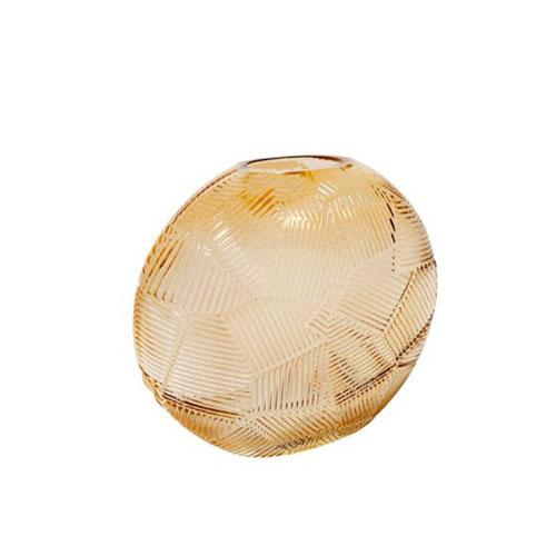 Vaso Decorativo em Vidro na Cor Âmbar - 17x19,5x08