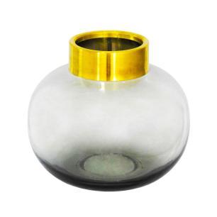 Vaso Decorativo em Vidro na Cor Cinza com Detalhes em Dourado - 20x20cm