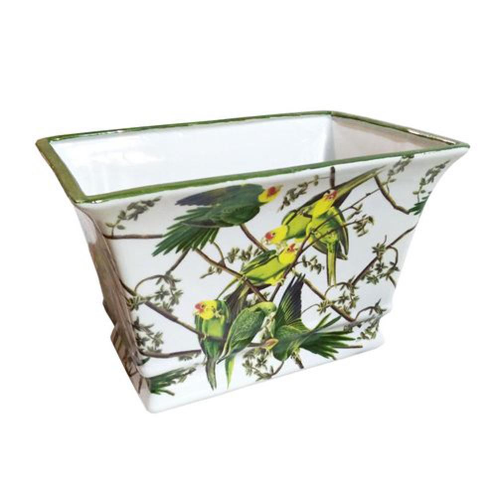 Vaso Decorativa em Cerâmica com Desenhos de Pássaros - 19x30x20cm