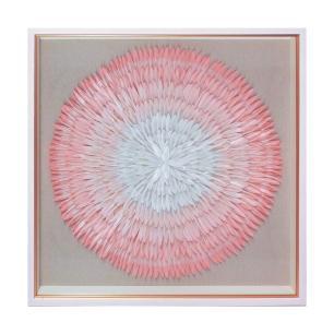 Quadro Decorativo com Penas Rosas - 80x80cm