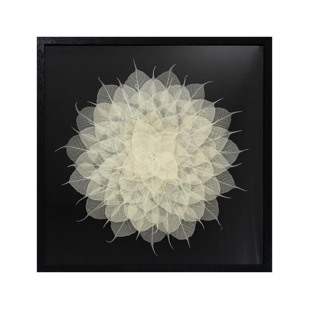 Quadro Decorativo Folhas Brancas - 60x60cm