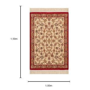 Tapete Persa Vermelho e Bege Floral - 100x150cm