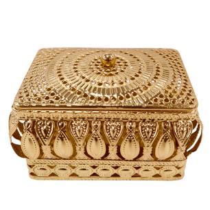 Porta Joias Kalifah Quadrado em Ferro cor Dourado - L9.5xP9.5xA8cm