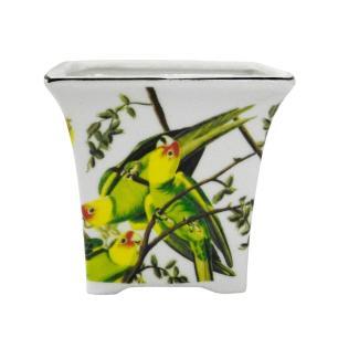 Vaso em Cerâmica com Papagaios - 11x12x11cm