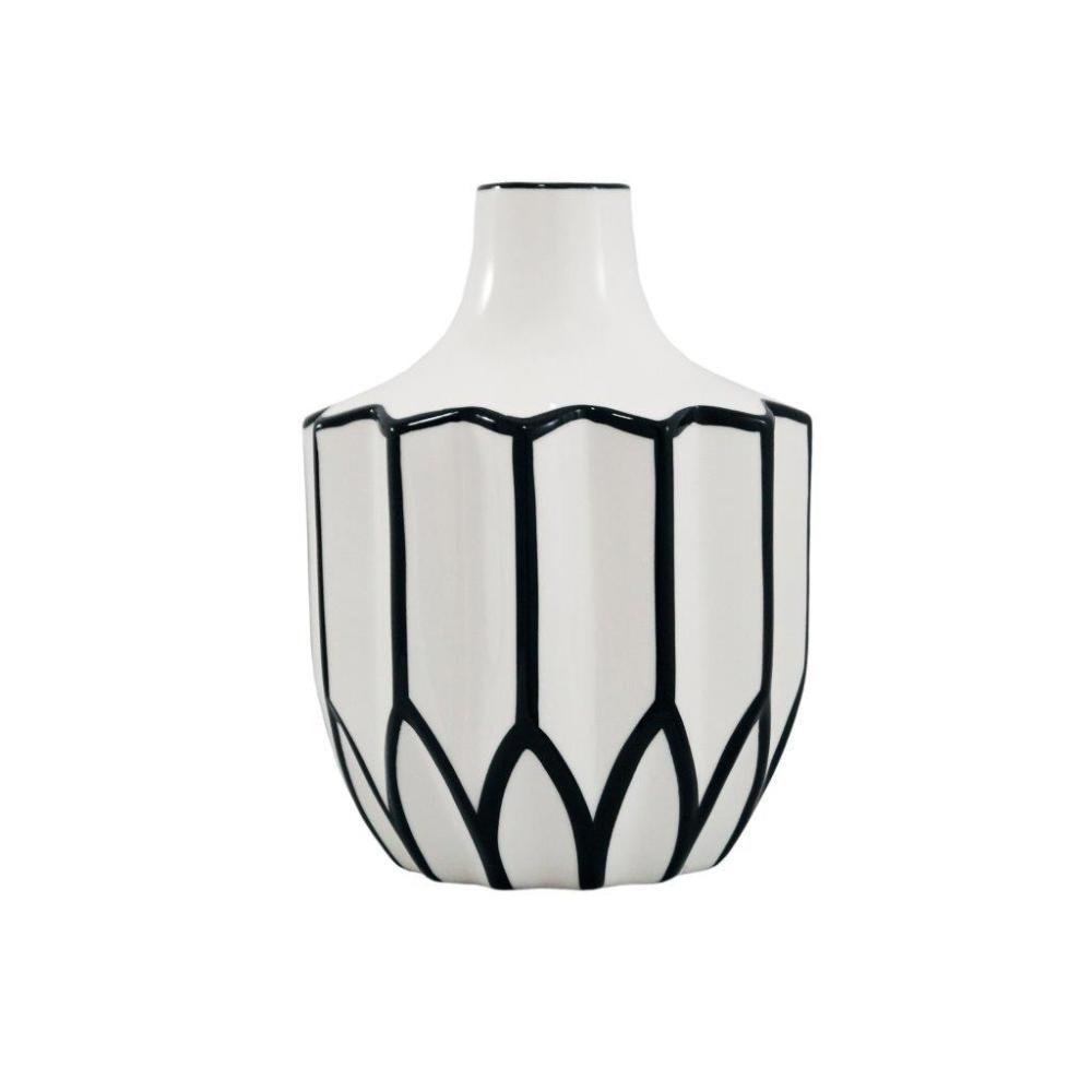 Vaso Decorativo Branco com Detalhes em Preto - 23x17x17cm