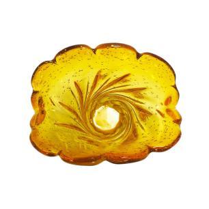 Vaso Decorativo em Murano Âmbar com Detalhes Dourado - 21x20x13cm