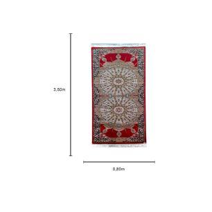 Passadeira Persa Vermelho com Detalhes Bege - 80x350cm