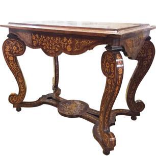 Mesa em Madeira Marchetada Francesa Luis XV - 77x61x97cm