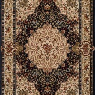 Tapete Persa Qom Preto com Detalhes Florais - 57x90cm