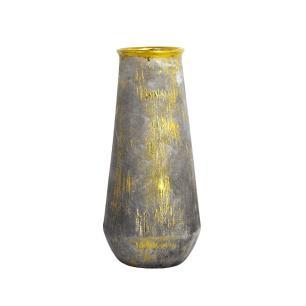 Vaso Rústico em Cerâmica com Detalhes em Dourado - 34x15x15cm