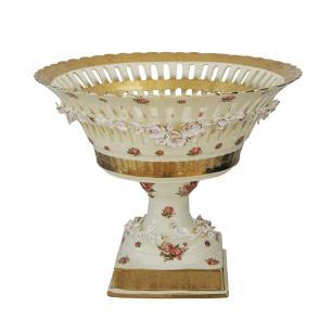 Centro de Mesa em Porcelana Dourada e Flores - 39x36cm
