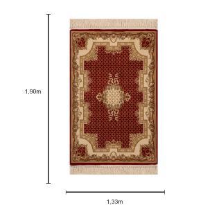 Tapete Persa Vermelho com Detalhes Bege - 133x190cm
