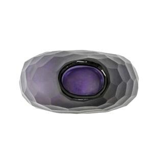 Vaso Decorativo em Vidro na Cor Violeta - 15x11x6cm