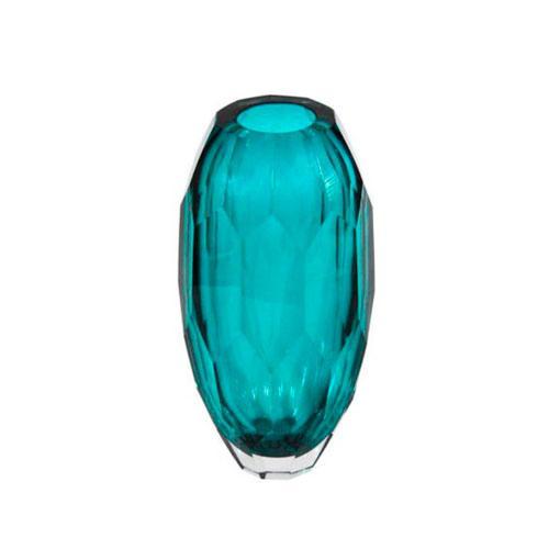 Vaso Decorativo em Vidro Azul - 24x12x12cm