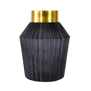 Vaso Decorativo em Vidro na Cor Preta - 28x20cm