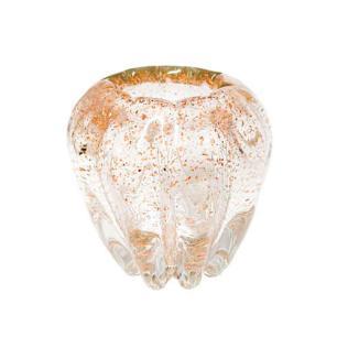 Vaso  em Murano na Cor  Bege com Dourado - 14x12x12cm