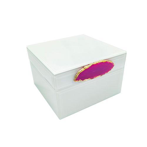 Caixa Decorativa Branca com Detalhes Rosa - 8,5x12,5x12,5cm