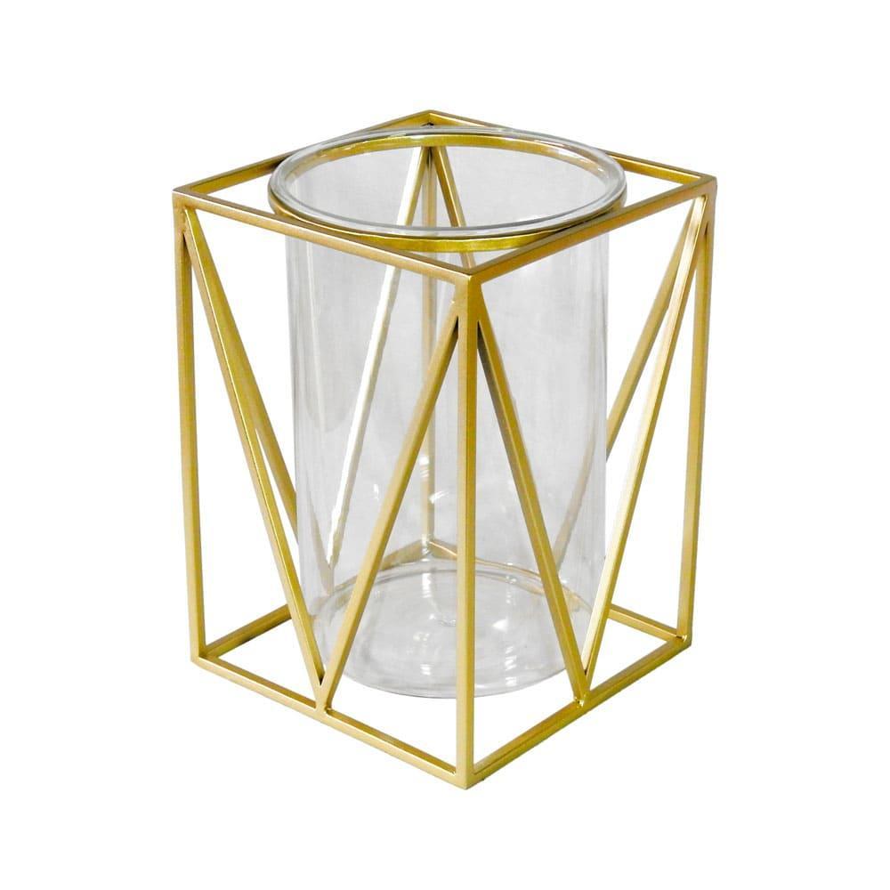 Castiçal em Metal Dourado com Vidro - 27x19cm