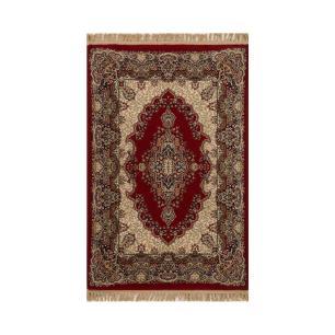 Tapete Persa Kashan Vermelho com Detalhes em Marrom - 100x150cm