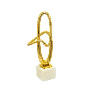 Escultura Decorativa em Resina Dourada e Branca - 40x15x9cm