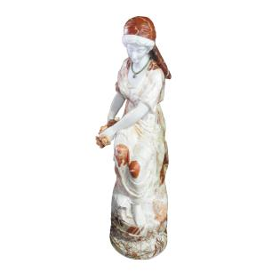 Escultura Decorativa 2 Mulheres em Mármore - 148x40x40cm