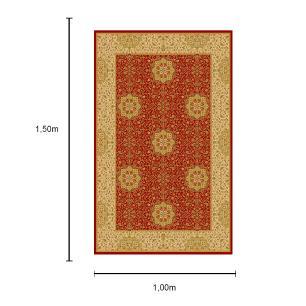 Tapete Persa com Franja Vermelho e Bege - 100x150cm