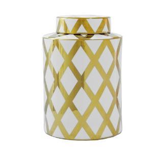 Potiche Decorativo Grande em Porcelana Dourado e Branco  - 30x22cm