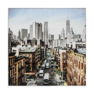 Quadro com Foto de Cidade Moldura em Metal - 80x80cm