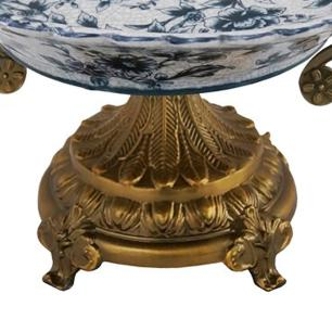 Centro de Mesa em Porcelana Apliques em Bronze - 22x45x19cm