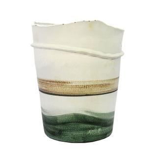 Vaso Decorativo em Cerâmica Branco e Verde - 32x25cm